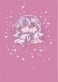 Menino e menina nos fones de ouvido Fotografia de Stock