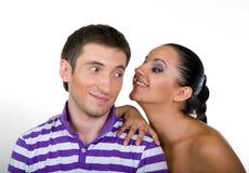 Menino e menina novos no fundo branco Fotos de Stock Royalty Free