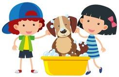 Menino e menina que dão a cão um banho ilustração do vetor