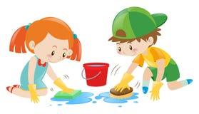 Menino e menina que limpam o assoalho ilustração royalty free