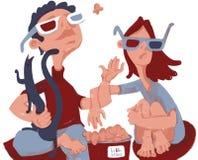 Menino e menina que olham um filme em casa ilustração royalty free