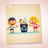 Menino e menina que recicl a ilustração dos desenhos animados do papel de nota Imagem de Stock