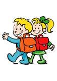 Menino e menina que vão à escola Imagem de Stock
