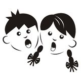 Menino e menina, silhueta Imagens de Stock
