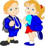 Menino e meninas de escola bonito Fotos de Stock Royalty Free