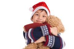 Menino e o seu urso fotografia de stock royalty free