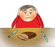 Menino e pão aborrecidos Imagens de Stock