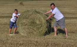 Menino e pai com o monte de feno no prado Foto de Stock