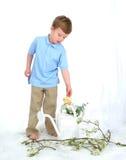 Menino e pintainho com lata da água Imagens de Stock Royalty Free