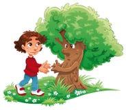 Menino e árvore Fotografia de Stock