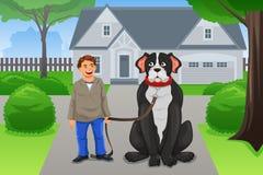 Menino e seu cão grande Imagem de Stock