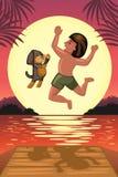 Menino e seu cão que saltam fora da doca Imagem de Stock