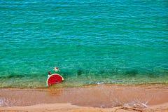 Menino e sua mãe na praia com flutuador inflável imagens de stock