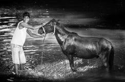 Menino e um cavalo Fotos de Stock Royalty Free