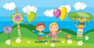 Menino e uma menina com balões Imagens de Stock