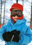 Menino em óculos de proteção do esqui Fotografia de Stock Royalty Free