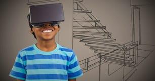 Menino em auriculares da realidade virtual contra mão marrom o escritório tirado Imagens de Stock