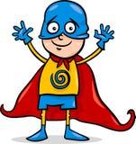 Menino em desenhos animados do traje do herói Imagens de Stock Royalty Free