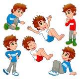 Menino em poses e em expressões diferentes. Fotos de Stock