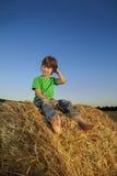 Menino em um monte de feno no campo Foto de Stock