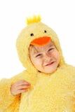 Menino em um traje da galinha Foto de Stock