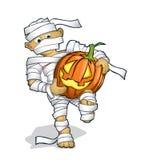 Menino em um traje de Halloween com pumpking Imagens de Stock Royalty Free