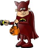 Menino em um traje do batman Fotos de Stock Royalty Free