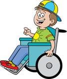 Menino em uma cadeira de rodas ilustração do vetor