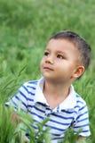 Menino em uma clareira verde Fotos de Stock Royalty Free