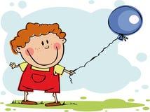 Menino engraçado com balão Fotografia de Stock