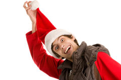 Menino engraçado do Natal Fotografia de Stock