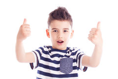 Menino entusiástico com polegares acima Imagens de Stock Royalty Free