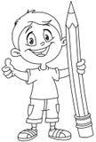 Menino esboçado que guarda o lápis grande ilustração stock