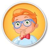 Menino esperto novo do estudante no pensamento dos vidros Ilustração do vetor ilustração do vetor