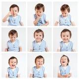 Menino, fazendo as caras engraçadas em um fundo branco imagem de stock