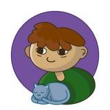 Menino feliz caucasiano que guarda um gato Retrato ilustração do vetor