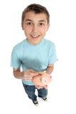 Menino feliz com caixa de dinheiro Fotografia de Stock Royalty Free