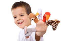 Menino feliz com fantoches do dedo Imagem de Stock