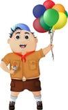 Menino feliz com gelado e balões no festival imagens de stock