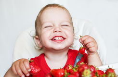 Menino feliz da criança que come morangos Fotografia de Stock Royalty Free
