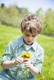 Menino feliz de sorriso que senta-se na grama fora de escolher flores imagem de stock