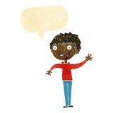 menino feliz dos desenhos animados que acena com bolha do discurso Fotos de Stock Royalty Free