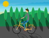 Menino feliz na bicicleta Vetor Projeto liso ilustração do vetor