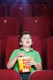 Menino feliz no cinema Foto de Stock Royalty Free