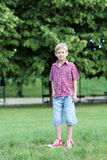 Menino feliz no parque Fotografia de Stock Royalty Free