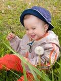 Menino feliz no prado do dente-de-leão Imagens de Stock Royalty Free