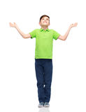 Menino feliz no t-shirt do polo que levanta as mãos acima foto de stock royalty free