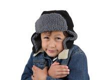 Menino frio de congelação do inverno Imagens de Stock Royalty Free