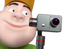 Menino gordo running que guarda a câmera da ação 3d rendem Imagem de Stock Royalty Free