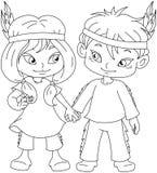 Menino indiano e menina que guardam as mãos para a página da coloração da ação de graças Foto de Stock